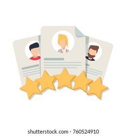Client's Review, Customer Feedback, User's Comment or Satisfaction Level. Portraits of three people and evaluation stars below. Flat outline vector icon, concept for Website, Mobile, Apps.