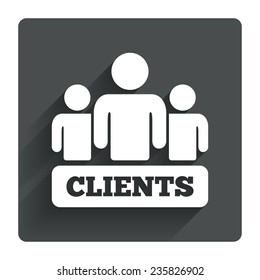 Clients sign icon. Group of people symbol. Gray flat square button with shadow. Modern UI website navigation. Vector