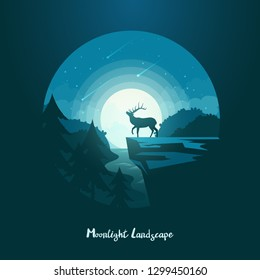 Cliff at midnight with deer in front of moon and meteor shower. Night landscape with elk standing on rock above forest or wood with river. Moose silhouette at dusk or twilight. Wildlife scenic view