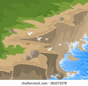 Cliff scene,a steep rock face and sea vector nature background
