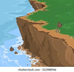 Cliff seascape vector nature background