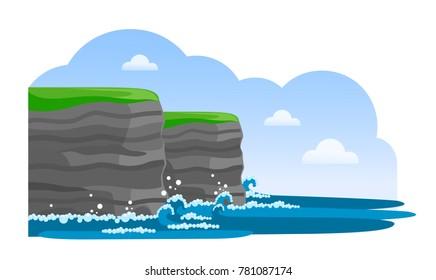 Cliffs of Moher. Irish attraction. Travel to Ireland. Vector flat illustration.