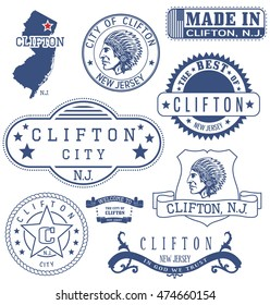 Clifton city, New Jersey. Set of generic stamps and signs.