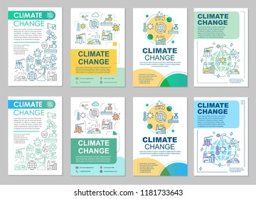 Climate change brochure template layout. Environmental issues. Flyer, booklet, leaflet print design with linear illustrations. Vector page layouts for magazines, annual reports, advertising posters