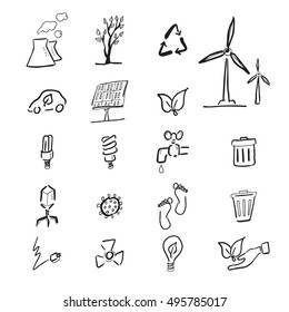 Climate change cartoon drawing icons