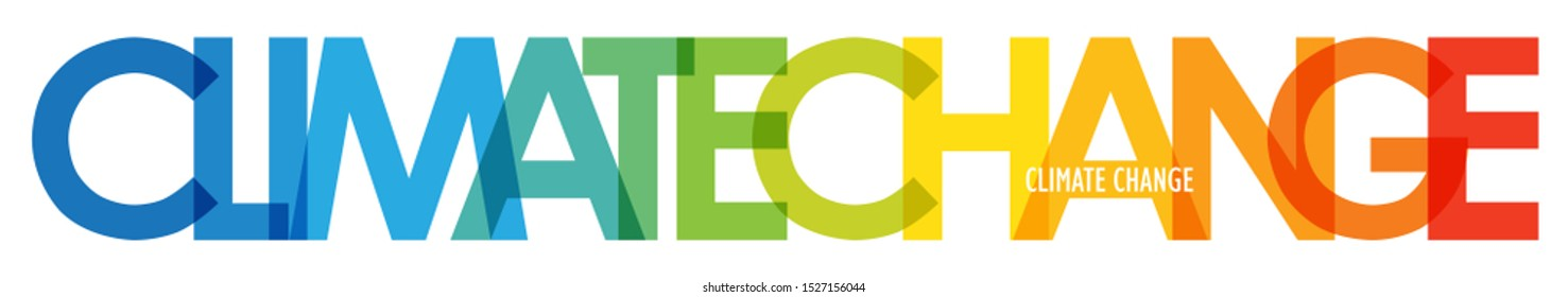 CLIMATE CHANGE colorful vector typography banner