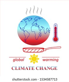 Climate change, Global Warming, Ecological Problems and Solutions. Earth in a hot pan under sun with red thermometer  - Isolated Design Concept. Vector illustration.