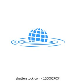 Climate change illustration sinking abstract planet earth concept poster global warming global flood eco logo