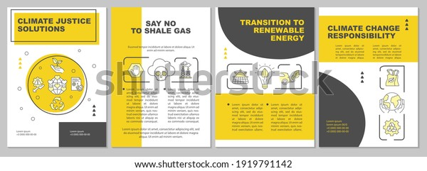 Climate change responsibility brochure template. Flyer, booklet, leaflet print, cover design with linear icons. Nature protection. Vector layouts for magazines, annual reports, advertising posters