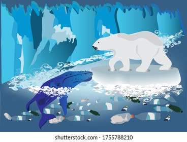 Climate Change Rising temperatures, extreme weather events, shifting wildlife populations and habitats, rising seas effect by plastic waste isolated on blue background