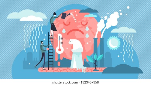 Climate change vector illustration. Flat global warming tiny persons concept. Nature environment danger because energy business industry and air pollution. Temperature rising and animal extinction.