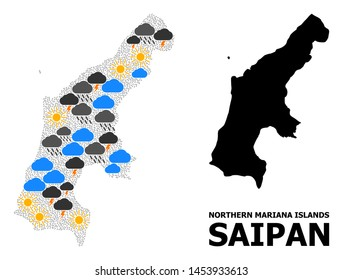Climate collage vector map of Saipan Island. Geographic collage map of Saipan Island is designed with scattered rain, cloud, sun, thunderstorm icons. Vector flat illustration for climate news.