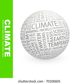 CLIMATE. Globe with different association terms.
