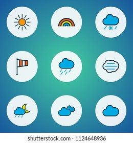Climate icons colored line set with midnight, sunlight, cloudy day and other flag elements. Isolated vector illustration climate icons.