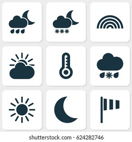 Climate Icons Set. Collection Of Nightly, Wet, Sun-Cloud And Other Elements. Also Includes Symbols Such As Rainbow, Wet, Weather.