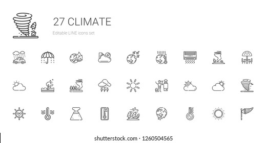 climate icons set. Collection of climate with thermometer, global warming, hurricane, temperature, geyser, sun, cloudy, heater, storm, tornado. Editable and scalable climate icons.