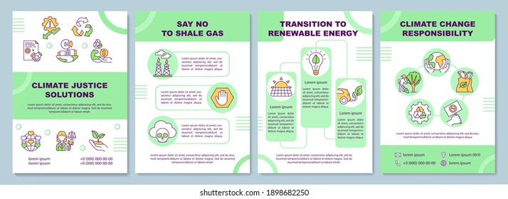 Climate justice solution.brochure template. Flyer, booklet, leaflet print, cover design with linear icons. Corporate responsibility. Vector layouts for magazines, annual reports, advertising posters