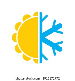 Climate logo icon vector sun and snowflake