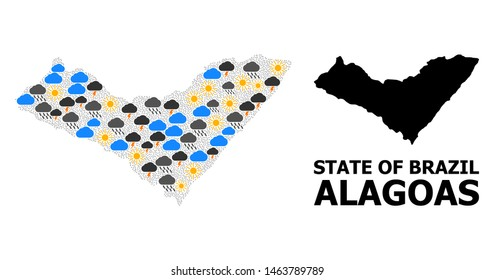 Climate mosaic vector map of Alagoas State. Geographic mosaic map of Alagoas State is combined from random rain, cloud, sun, thunderstorm elements. Vector flat illustration for climate news.