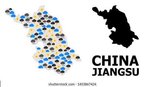 Climate mosaic vector Map of Jiangsu Province. Geographic mosaic Map of Jiangsu Province is combined from scattered rain, cloud, sun, thunderstorm. Vector flat illustration for climate news.