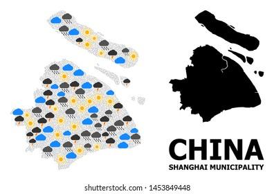 Climate mosaic vector map of Shanghai Municipality. Geographic mosaic map of Shanghai Municipality is created with randomized rain, cloud, sun, thunderstorm.