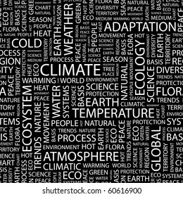 CLIMATE. Seamless vector pattern with word cloud. Illustration with different association terms.