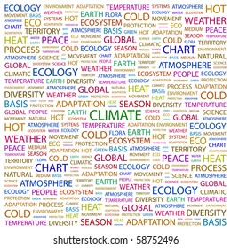CLIMATE. Word collage on white background. Illustration with different association terms.