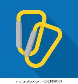Climb carabine icon. Flat illustration of climb carabine vector icon for web design