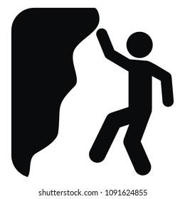 Climber, black silhouette, danger of falling