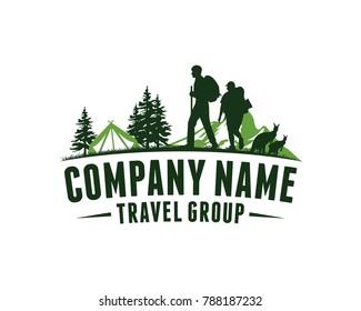 Climber Camping Tent with Mountain, Pine Tree and Kangaroo Animal - Illustration Travel Group Company Logo Vector