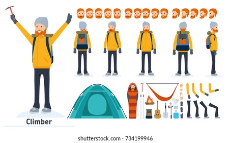 Climber character creation set. Climber, tourist. Icons with different types of faces and hair style, emotions, front, rear side view of male person. Moving arms, legs. Vector flat illustration