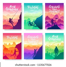 climber climbs the mountain brochure cards set. Extreme lifestyle of rock climbers template of flyear, magazines, poster, books, invitation banners. Tourist hiking layout modern