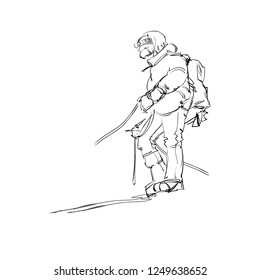 A Climber on a Snow Slope. An Alpinist with Equipment. A Mountaineer with an Ice axe. Vector Illustration. Freehand Monochrome Drawing. Extreme Winter Sport. Realistic Style Sketch. Young Athlete