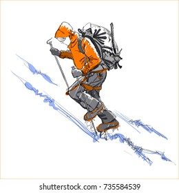 A Climber on a Snow Slope. An Alpinist with Equipment. A Mountaineer with a Backpack. Vector Illustration. Freehand Monochrome Drawing. Extreme Winter Sport. Realistic Style Sketch. Young Athlete