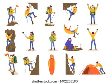 Climber set. Man mountaineering with a special equipment. Outdoor activity with a backpack. Extreme sport and adventure. Isolated vector illustration in cartoon style