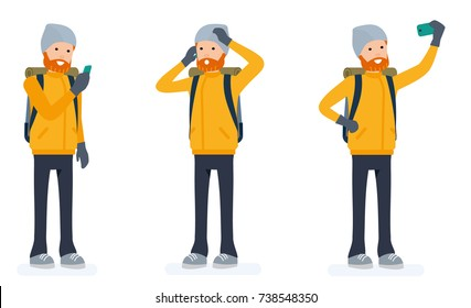 Climber set, tourist man with a phone. Isolated against white background. Vector illustration. Cartoon flat style.