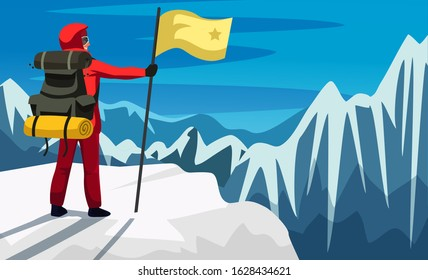 Climber in uniform with flag on snowed mounts peak. Happy man climber reached mounts summit enjoying picturesque natural view on snow-covered cliffs. Highest point. Vector flat illustration