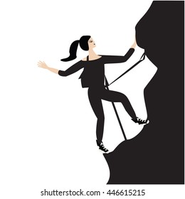 climber woman isolated white background element for design vector