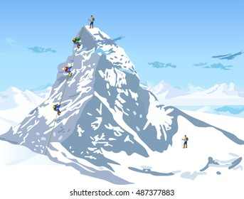 climbers ascend the mountain