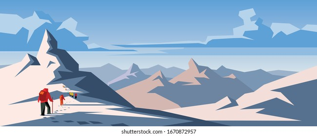 Climbers climbing mountain with snow field. Snow hills landscape. Winter snowdrift panoramic background. Cover on the theme of professional hiking