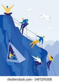 Climbers Group Reaching Peak Flat Cartoon Vector Illustration. Teamwork Concept. People with Equipment Hiking in Mountains. Happy Man Leader on Top. Traveling and Trekking. Taking up Girl.