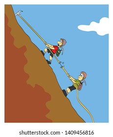 Climbers on a mountain. One of them is looking fearfully how the rope breaks. Cartoon style vector illustration.