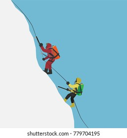climbers with oxygen backpacks climbing to summit of mountain in winter season, cartoon vector