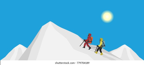climbers with oxygen backpacks  reaches summit of mountain in winter season, cartoon vector