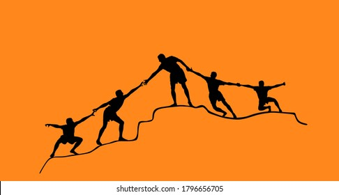 Climbers people human chain team building vector silhouette. Man help friends to climbing on top of hill. Together synergy concept. Evacuation after disaster. Cooperation, solidarity in hard situation