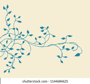 climbing blue ivy vine vector border design of a graceful leaves and plant silhouette nature element on a beige yellowed background in a nostalgic vintage style