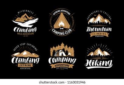 Climbing, camping logo or emblem. Hiking label set. Vintage vector