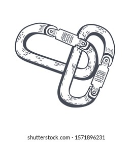 Climbing carabiner hand drawn outline doodle Seamless Pattern. Vector illustration