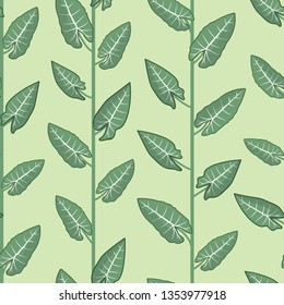 climbing colocasia stripes seamless vector pattern. green colocasia plant climbing directional pattern forming a stripe pattern on green background