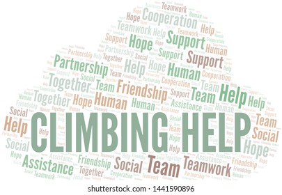 Climbing Help word cloud. Vector made with text only.